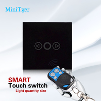 Free Shipping EU Standard Touch Remote Dimmer Switch For Light Wall Switch Black Glass Panel Wall