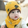 2017 New Cute Baby Boys Girls Sleep Hat+Saliva Towel Triangle Head Scarf Set Newborn Infant Baby Hats&bibs Sets