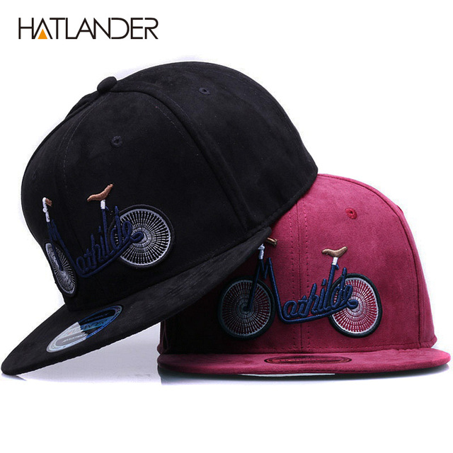 HATLANDER 2018 new casual suede baseball caps for men women embroidery  bicycle flat bill hip hop hats girls boys snapback cap 7ef165cfc01b