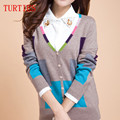 Nova primavera e outono das mulheres com decote em V de mangas compridas Top grade - macias costura casaco de caxemira suéter casaco de malha fina