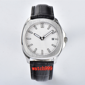 Image 2 - BLIGER 39 mm white dial sapphire glass date movement automatic mens watch stainless steel belt waterproof mechanical watch