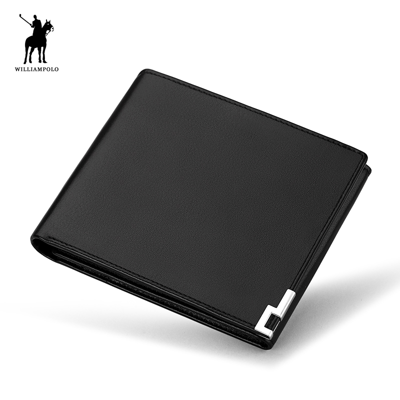 WILLIAMPOLO 2018 New Men Short Wallets Black Brown Bifold Wallet Mens Brand Leather Card Holder Monet Cash Wallet Purses POLO222 new arrival short wallets genuine leather black brown brand bifold wallet mens small vintage leather men card holder