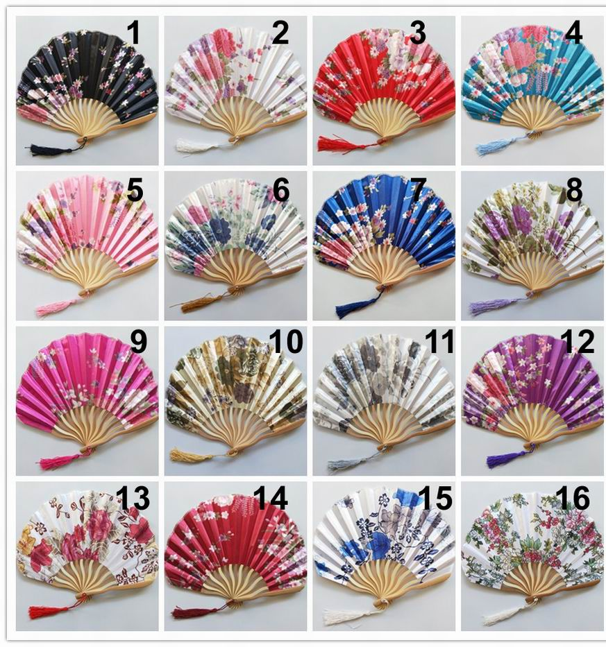 100PCS Japanese Flower Floral Fabric Folding Hand Fan Party Wedding Favors
