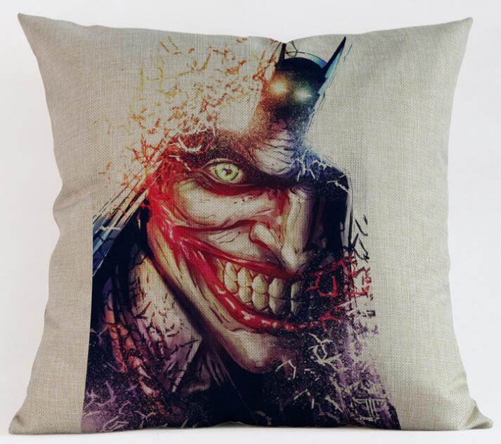 Cushion Cover Linen Batman Joker Printed Pillows Cover  Decorativos Pillow Case