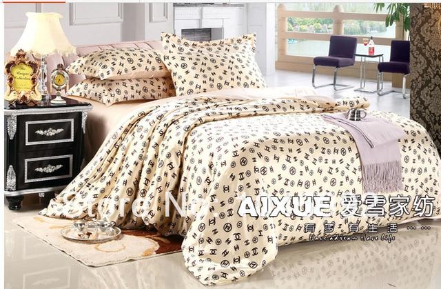 New Design Brand Name Real Silk Bedsheet 4pcs Bed Linen Bedding Sets Queen King Duvet Cover