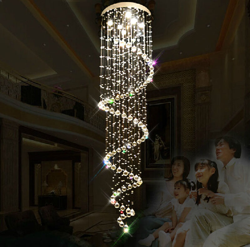 modern Crystal chandelier double long staircase hanging crystal lights villa staircase led lighting fixture for home lighting
