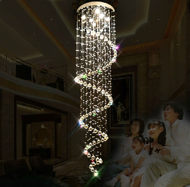Modern crystal chandelier double long staircase hanging crystal modern crystal chandelier double long staircase hanging crystal lights villa staircase led lighting fixture for home aloadofball Choice Image