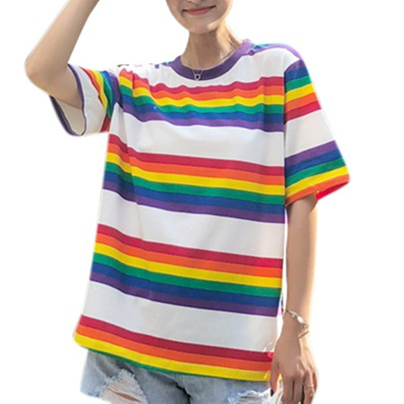 Korean Fashion Rainbow Shirts Women 2018 Short Sleeve Crop Top Oversized T Shirt Kawaii Graphic Tees Women Summer Tops H7