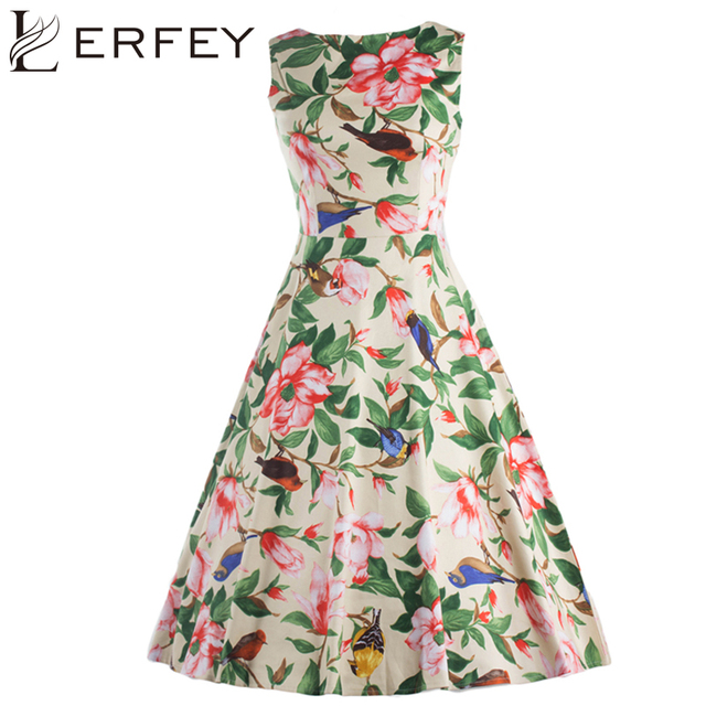 LERFEY Summer Dress Floral Print Pleated Casual Dresses Vintage Retro Rockabilly Sleeveless Dress Womens Clothing
