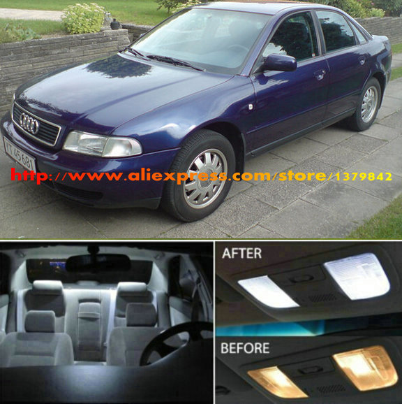 Free Shipping 8Pcs/Lot car-styling 12v Xenon White/Blue Package Kit LED Interior Lights For Audi A4 B5 Sedan 1996-1998