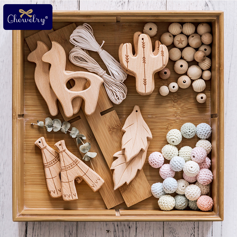 1pc Wooden Teether Pure Natural Cactus Leaves  Baby Teething Nursing Beech Rodent Teether Baby Girl DIY For Pacifier Chain Toys