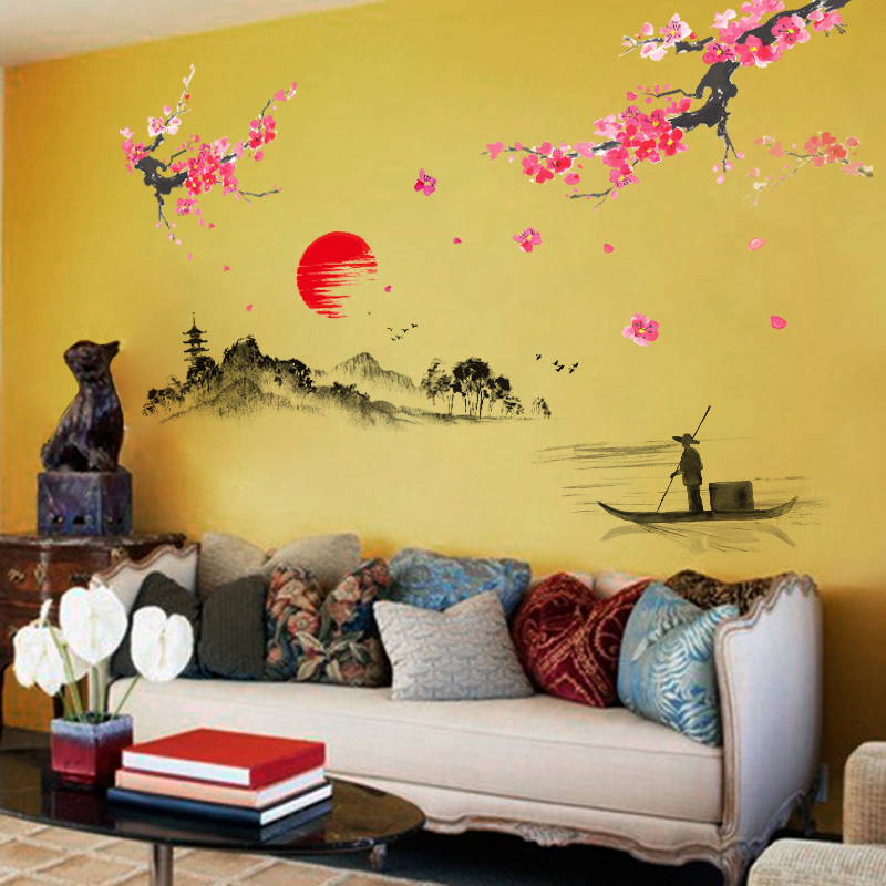Sunset Hill Chinese Wall Stickers Living Room TV Wall Sofa Background  Chinese Calligraphy Creative Cozy Bedroom Wall Sticker In Wall Stickers  From Home ...