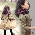 Ropa para niños 2015 la primavera y el otoño de estilo británico niña cinturón clásico cruzado trinchera niño prendas de vestir exteriores de lazada