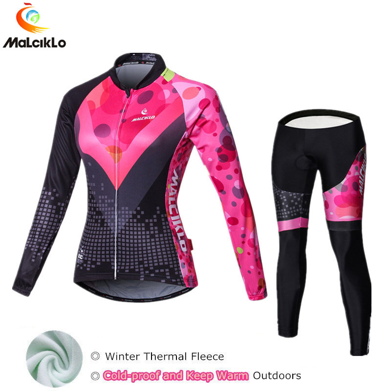 2017 Winter Cycling Sets Thermal Fleece Clothing Wear Super Warm Women Cycling Jersey Bicycle Bike MTB Ropa Ciclismo Suit