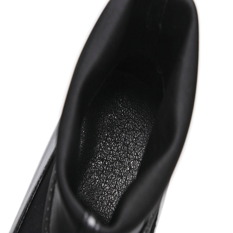 Noir Bottes Vache Épais Taille Femme Grande Talons Haute 43 Chaussures Poined Bottines Toe De Partie Femmes En Cuir Mariage Automne Printemps SwwpCq1R0
