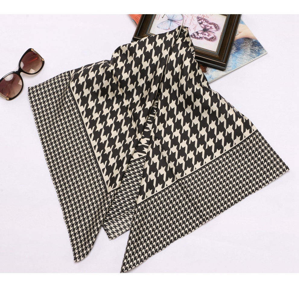 90*90cm 100% Twill Silk Scarf Houndstooth Prints Fashion Large Square Silk Scarf Shawl Hijab Female Foulard