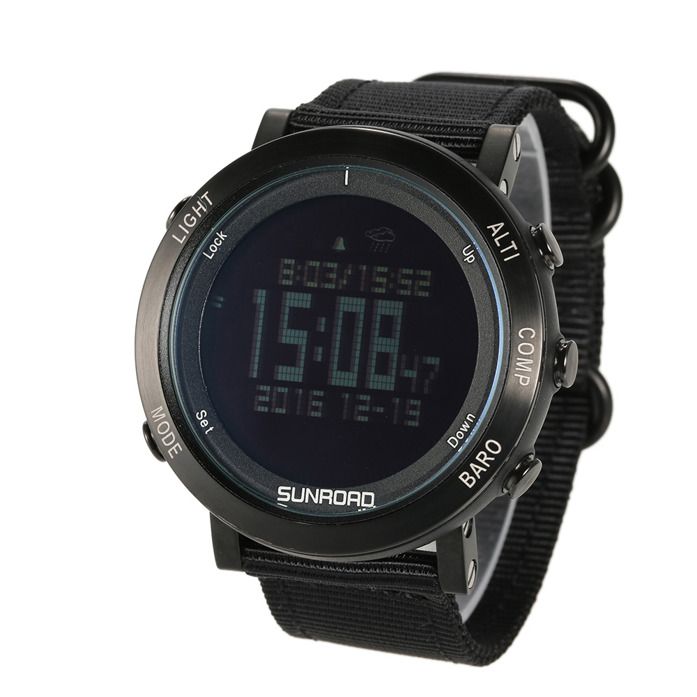 SUNROAD Outdoor Digital Sports Watch Men Pedometer Altimeter Barometer Compass Wrist Watch Nylon Band Sport Watches for Men sunroad 2018 new arrival outdoor men sports watch fr851 altimeter barometer compass pedometer sport men watch with nylon strap