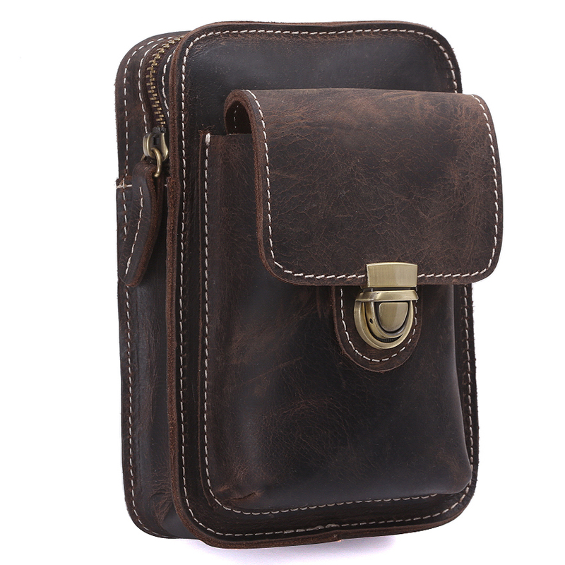 TIDING New Vintage Retro Genuine Leather Military Waist Pack Brown Small Bumbag Cell Phone Holder 3110