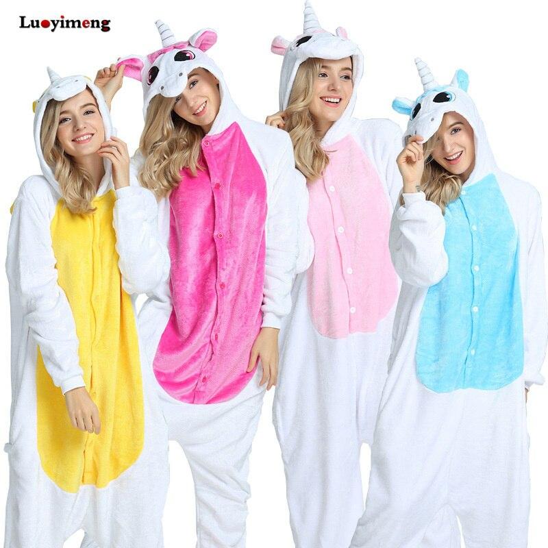 Winter Flannel Pajamas Unicornio Women Sleepwear Adult Couple Onesie Pajamas Unicorn Animal Cartoon Pyjama Femme Pijama Licorne