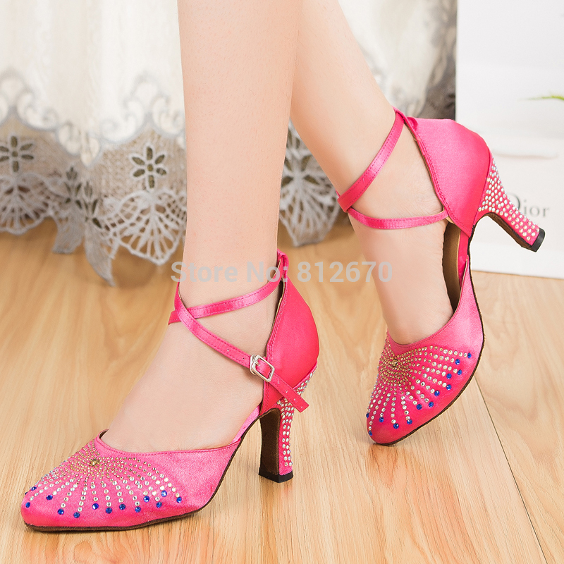 Gorgeous Womens shoes for dance Ladies balck bright pink modern dance shoes Tango Ballroom Salsa shoes women Dance ShoesXC-6393