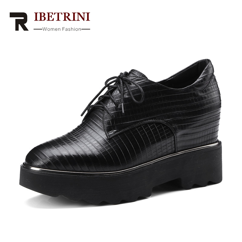 RIBETRINI Large Size 33-42 women's Genuine Leather Square Toe lace-up Wedges Increasing Platform Shoes Woman Casual Spring Flats qmn women genuine leather platform flats women brushed leather height increasing brogue shoes woman square toe creepers 34 42