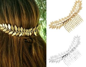 Broche pour cheveux feuille d'olivier couleur or argent