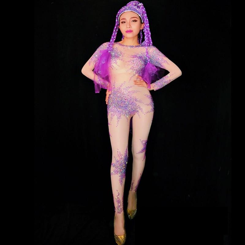 2019 femmes nouveau Sexy violet brillant strass maille combinaison discothèque bal célébration scène Sexy fête Performance danse Costume
