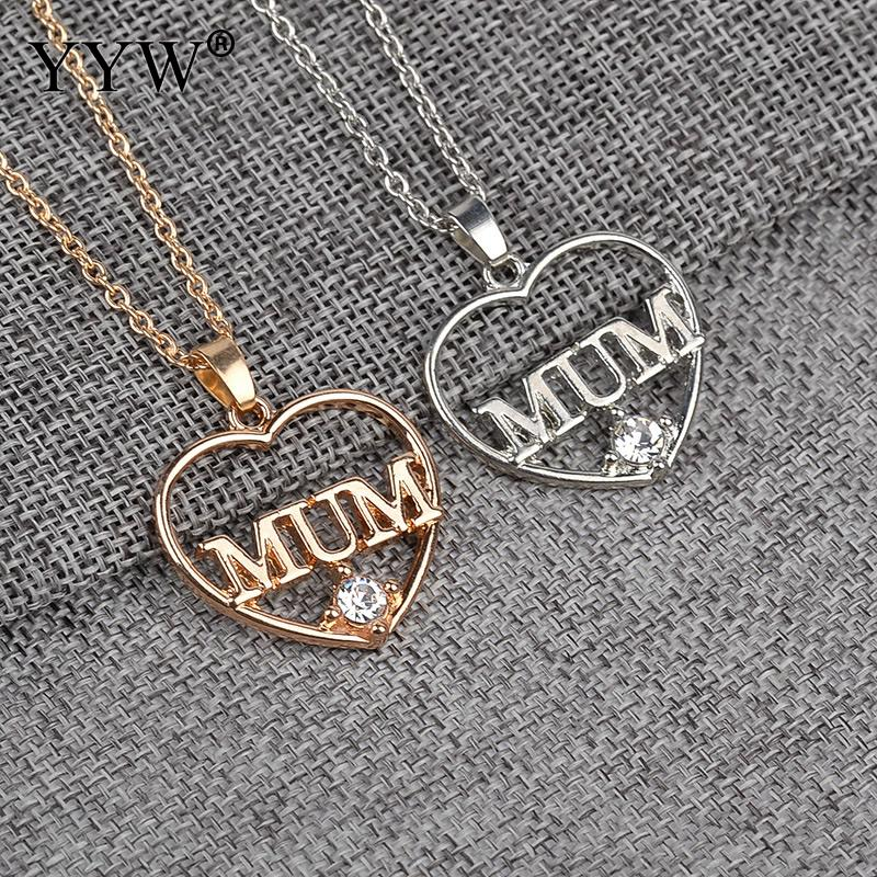 2017 New Fashion Heart Necklace Pendant word mum Rhinestone Jewelry For Women Fascinating Valentine Lover Gift For Mother