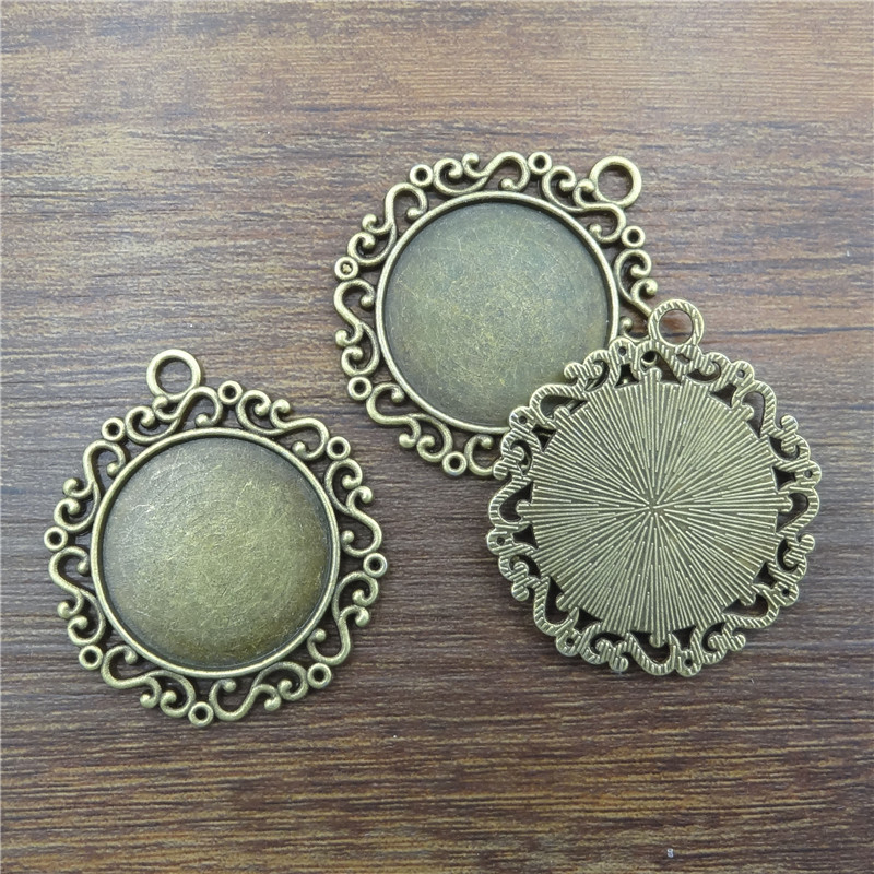 10pcs/25mm Ancient Bronze round Necklace Pendant Setting Cabochon Cameo Base Tray Bezel Blank Jewelry Findings&components DIY
