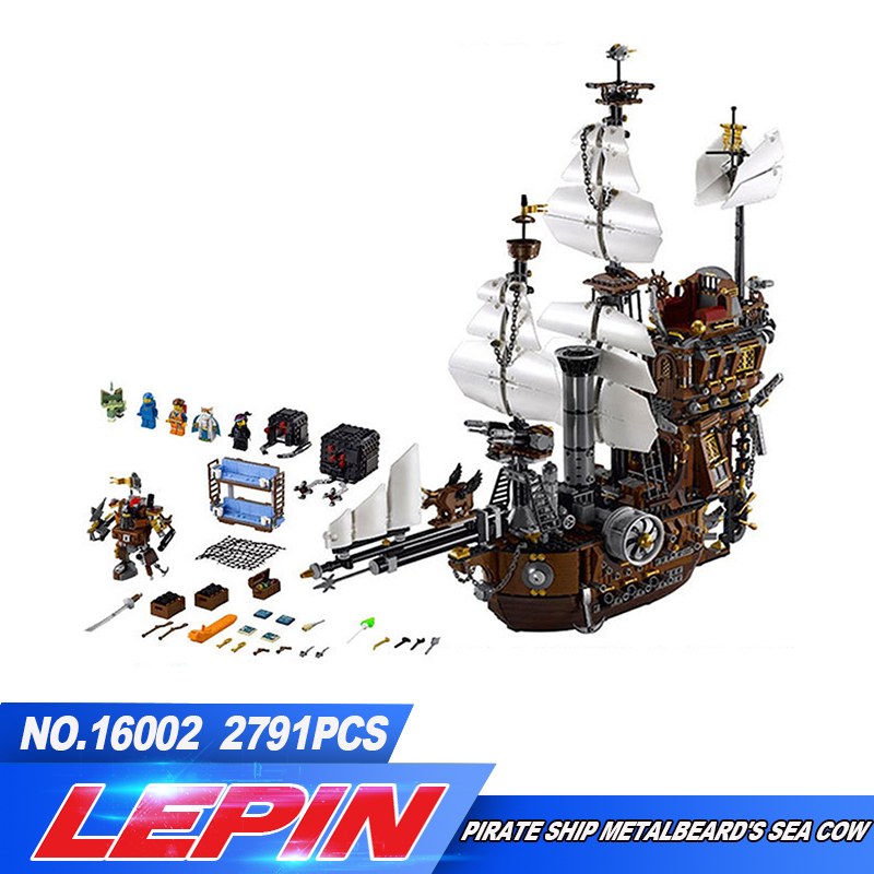 IN STOCK LEPIN 16002 2791Pcs Pirate Ship MetalBeard's Sea Cow Model Building Kits Blocks Bricks Compatible legoed 10708 Toys 8 in 1 military ship building blocks toys for boys