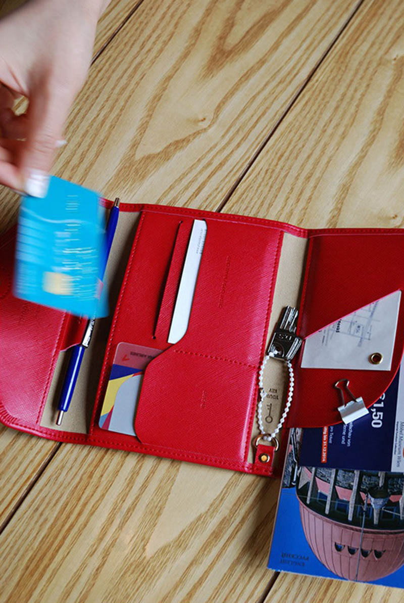 Travel Passport Cover Foldable Credit Card Holder Money Wallet ID Multifunction Documents Flight Bit License Purse Bag PC0045 (7)