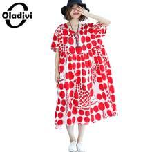 c027efad1468a4 Oladivi Surdimensionné Plus La Taille Femmes Vêtements Polk Dot Imprimer  Robe Lady Casual Lâche Coton Lin