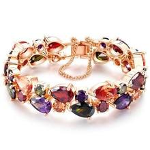 FYM Mona Lisa Brand 15cm Children Colorful Zircon Charm Bangle & Bracelet Mona Lisa Rose Gold Color Crystal bracelet Jewelry