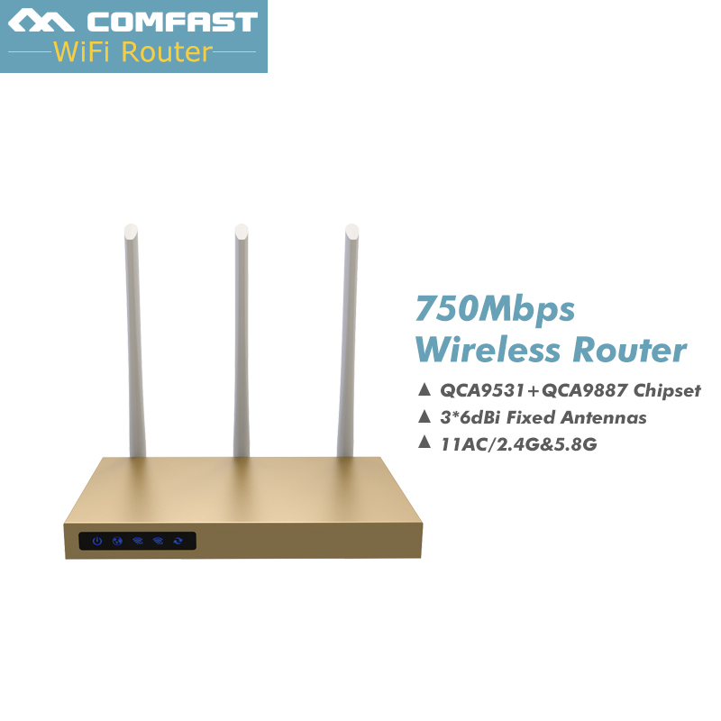 New! COMFAST 750Mbps 2.4G/5Ghz wireless router 3*6dBI antennas signal booster...