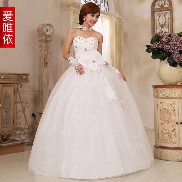 Free shipping Fashion sexy diamond big bowknot wedding dresses ...