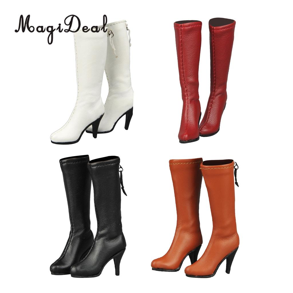 "1//6 Women/'s Zippered Mid-calf Knee High Boots Shoes for 12/"" Female Action Figure"