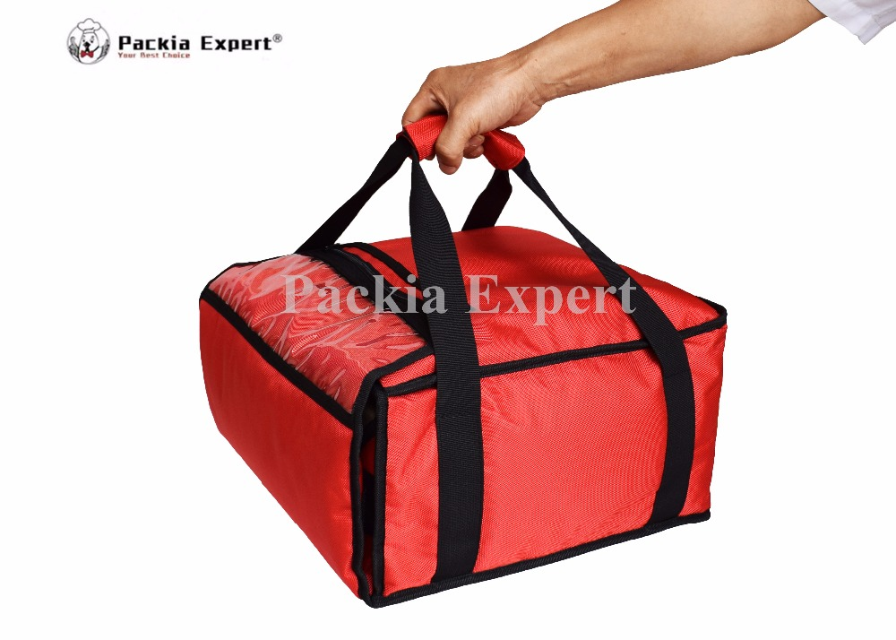 "13""Depth-13""Width-5""Height Pizza Delivery Bag with Heat Generating Sheet Thermal Bag -Red Color Food delivery bag PHSP363618h"