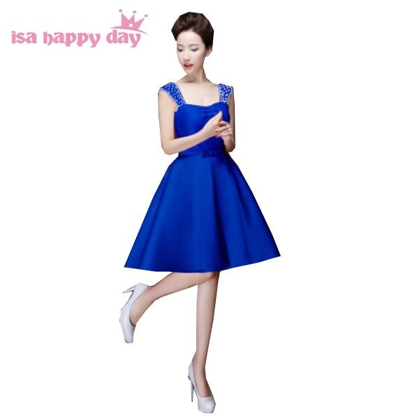 ec5e8154bfdf3 أنيقة قصيرة الأزرق الملكي الحرير امرأة مساء اللباس 2019 النساء فساتين للحزب  على المناسبات الخاصة جديد وصول العروس H2902