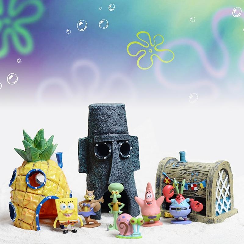 11pcs/set SpongeBob Fish Tank Micro Landscape Decor Pineapple House Fish Shrimp Hide House Resin Ornament Aquarium Landscaping