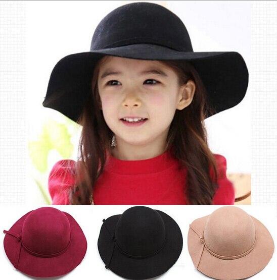 2017 baru vintage retro anak anak boy gadis topi fedora wool felt crushable  lebar brim cloche 332c4d5b53