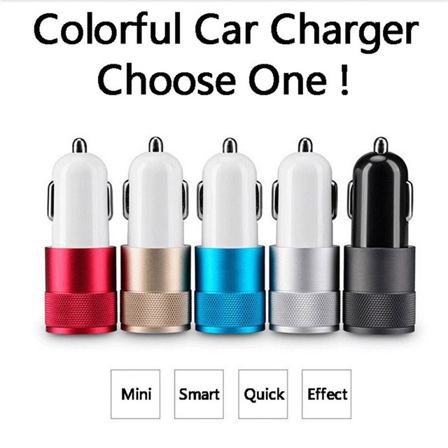 El mejor puerto USB doble de Metal cargador de coche Universal de 12 voltios/1 Amp 2 Amp para iPhone 7 Plus iPad Samsung S6 s7 Galaxy Droid