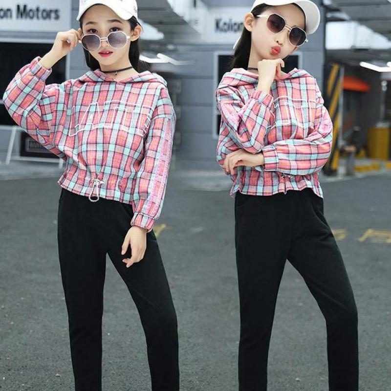 2019 2 Pcs Casual Kids Toddler Girls Clothes Set Long Sleeve Hoodie Tops Plaid Sweatshirts + Pants Outfits Ensemble Fille 10 12