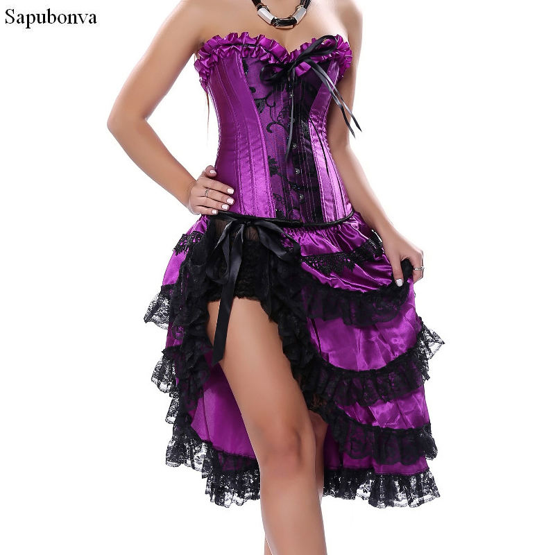 Sapubonva victorian corset dress gothic sexy burlesque exotic tutu skirt corset party long corset overbust bustier black purple