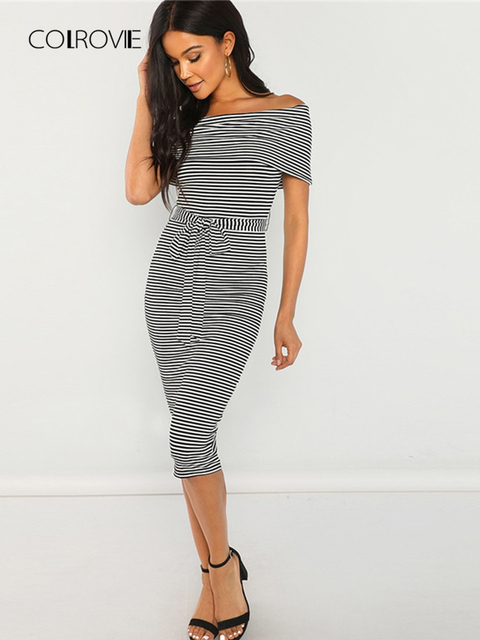 COLROVIE Striped Knot Foldover Off the Shoulder Belted Girl Sexy Dress Women  2018 Autumn Ladies Party 172478e102c5