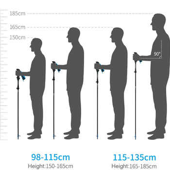 Naturehike Folding 34cm Poles Ultralight Foldable Adjustable Trekking Carbon Fiber Walking Hiking Stick for Women Men 98-135cm