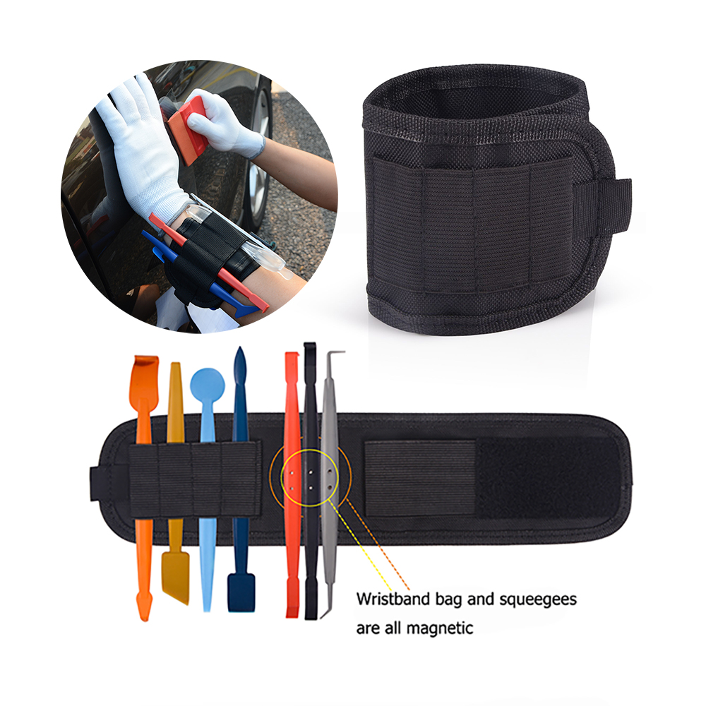 EHDIS Vinyl Car Wrap Magnetic Wristband Tools Bag For Holding Window Tint Squeegee Scraper Knife Wrapping Film Magnet Waist Bags