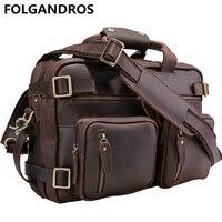 Folgandros мужской кожаный портфель бизнес ноутбук сумка для переноски на Tote Сумочка Теплые Многофункциональный и сумка