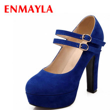 ENMAYER Hot! Mary Janes 2015 sexy fashion High shoes women wedding shoes Round Toe platform pumps shoes size34-37  women pumps retro mary janes shoes crystal high heels pumps wedding shoes women round toe dames schoenen 2018 summer sandals black red shoes