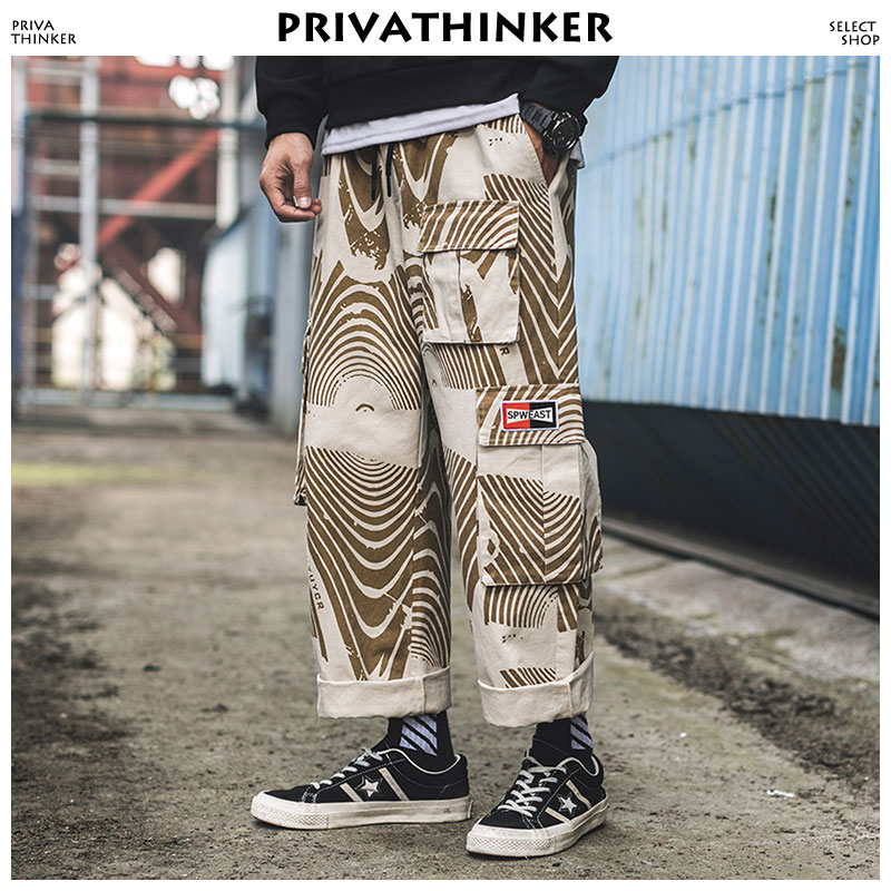 Privathinker Camo Cargo Pants Men Clothing 2019 Mens Streetwear Straight Pants Male Hip Hop Overalls Joggers Pants Adjustment