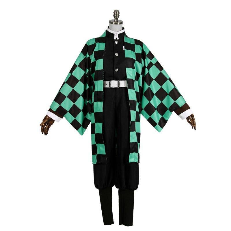 Nouvelle tueuse de démon Anime: Kimetsu no Yaiba Cosplay Kamado Tanjirou Costume de Cosplay japonais vêtements + Leggings + boucles d'oreilles + ceinture